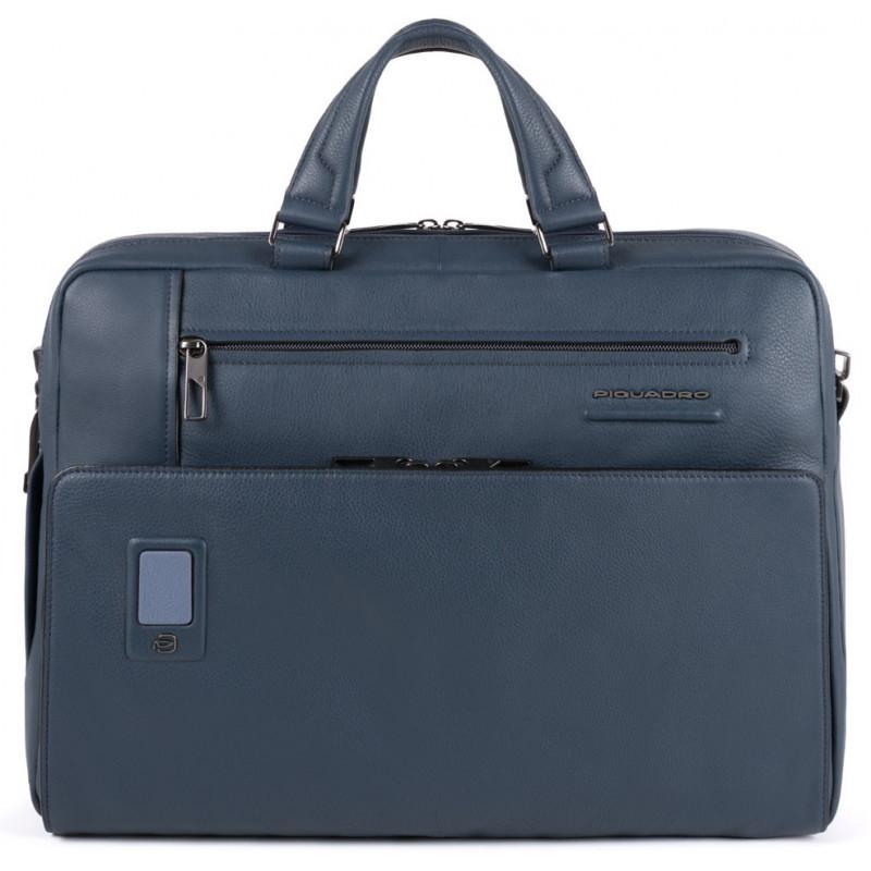 Ділова сумка-портфель шкіряна чоловіча Італія 43*30,5*10 див. синя 2201384