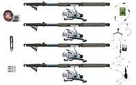 Универсальный рыболовный набор для начинающих на мирную рыбу, 4 спиннинга 2.4 м + катушки