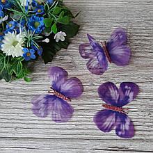 Бабочки из шифона. Фиолетовая с розовым глиттерным брюшком 6 на 4 см