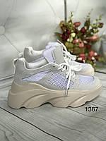 Класичні бежеві кросівки на високій подошві, фото 1