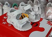 Детские сандалии босоножки для мальчика, девочки  с задником супинатор 18(11,3)19(12)  белые clibee