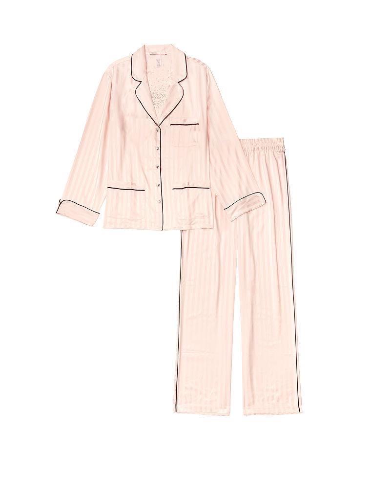 Сатиновая Пижама Victoria's Secret Satin & Rhinestone Button PJ Set, Розовая в полоску со стразами