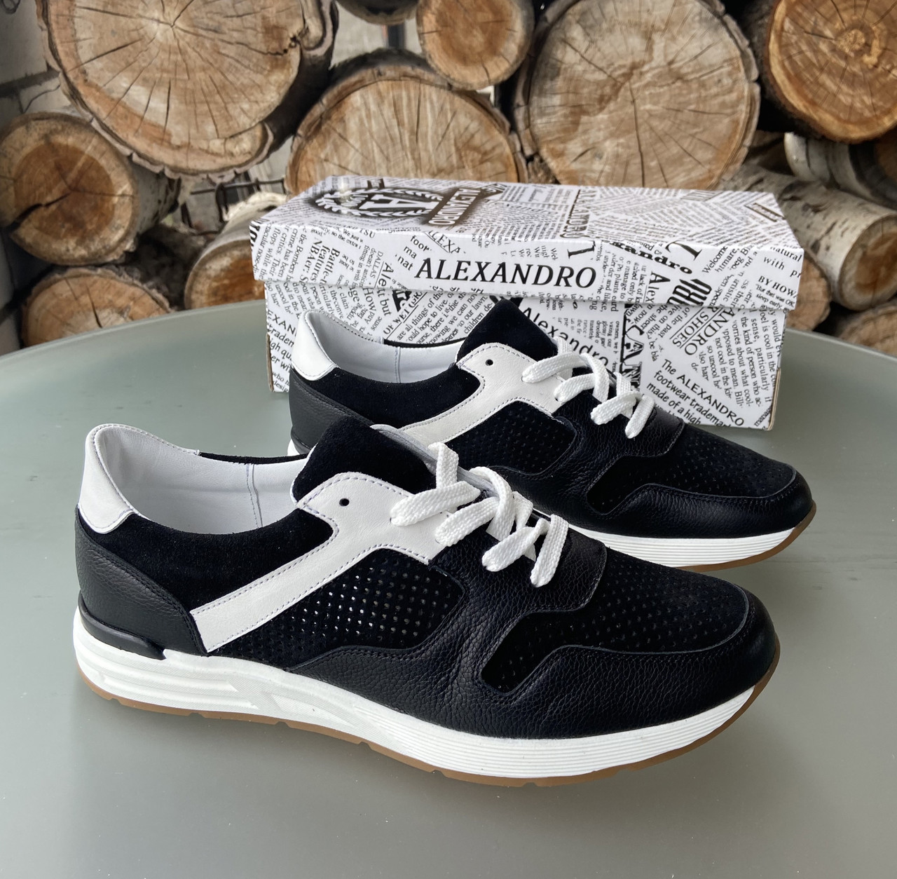 Мужские перфорированные кроссовки alexandro натуральная кожа 41