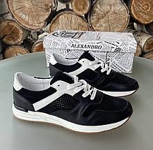Мужские перфорированные кроссовки alexandro натуральная кожа 45