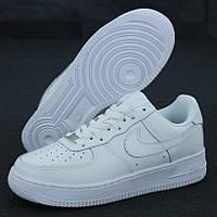 Мужские кроссовки в стиле Nike Air Force 1 Low, натуральная кожа, белый, Вьетнам