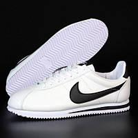 Мужские кроссовки в стиле Nike Classic Cortez, кожа, белый, Вьетнам