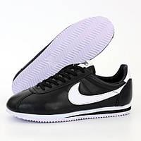 Мужские кроссовки в стиле Nike Classic Cortez, кожа, черный, Вьетнам