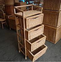 Комод плетеный из лозы и дерева на 4 ящика