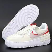 Женские кроссовки в стиле Nike Air Force 1 Low Shadow, кожа, белый, красный, желтый, Вьетнам