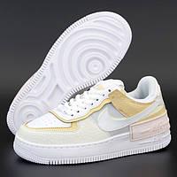Женские кроссовки в стиле Nike Air Force 1 Low Shadow, кожа, белый, желтый, Вьетнам