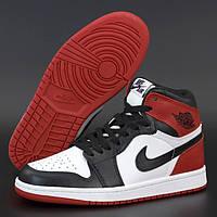 Женские высокие кроссовки в стиле Nike Air Jordan 1 Retro High, Найк Аир Джордан, кожа, красный, белый,