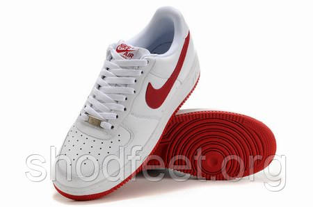 Мужские кроссовки Nike Air Force 1 White Red Low