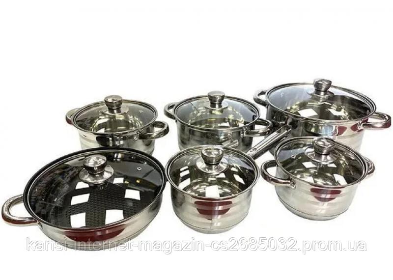 Набор посуды 12 предметов HOFFMAYER HF-436, кастрюли из нержавеющей стали