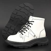 Женские ботинки в стиле Alexander McQueen Boots, натуральная кожа, белый, Италия