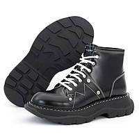 Женские ботинки в стиле Alexander McQueen Boots, натуральная кожа, черный, Италия