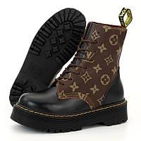 Женские ботинки в стиле Dr.Martens & LV, кожа, черный, коричневый, Великобритания
