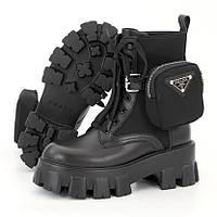 Женские ботинки в стиле Prada Monolith, кожа, черный, Вьетнам