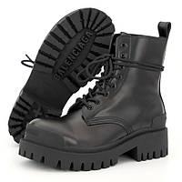 Женские ботинки в стиле Balenciaga Strike Lace-Up Boot, кожа, черный, Вьетнам