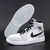 Женские кроссовки в стиле Nike Air Jordan 1 Retro High, Найк Аир Джордан (Джордани), кожа, серый, белый,
