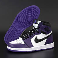 Женские кроссовки в стиле Nike Air Jordan 1 Retro High, Найк Аир Джордан (Джордани), кожа, фиолетовый, черный