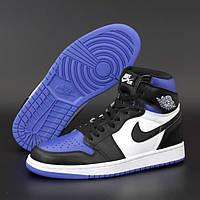 Женские кроссовки в стиле Nike Air Jordan 1 Retro High, Найк Аир Джордан (Джордани), кожа, синий, белый,