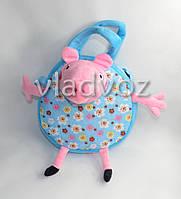 Детская сумка свинка пеппа голубая круглая