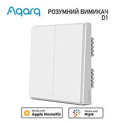 Вимикач 2-клавіші Aqara D1 Zigbee Wall Switch HomeKit (з нульовою лінією, QBKG24LM)