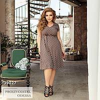Платье летнее в горошек миди капучино, фото 1