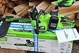 Безщіткова акумуляторна ланцюгова пила Greenworks GD24X2CS36 48 В з АКБ і ЗУ 48V (2 X 24V) Новинка 2020 р., фото 2