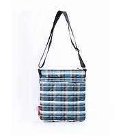 Сумка-планшет женская стёганая POOLPARTY Shoulder Kletka синяя