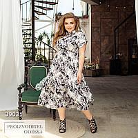 Платье летнее цветочный принт миди белый