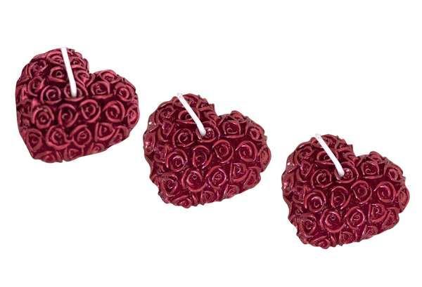 Свічки декоративні 3шт серця металік 5 см