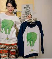 Женский Свитшот ( толстовка)  Слон синий