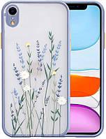 Силиконовый ударопрочный чехол для iPhone XR с цветочным принтом Lavender (8CASE)