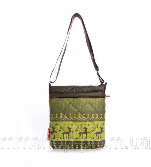 Сумка-планшет женская стёганая POOLPARTY Shoulder с оленями зелёная