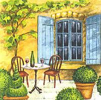 Редкая салфетка Крылечко, столик, вино 5388