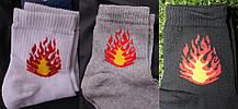 """Набір шкарпеток з принтом """"Вогонь"""" білі, сірі, чорні"""
