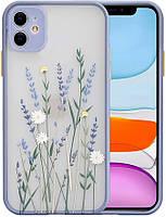 Силиконовый ударопрочный чехол для iPhone 11 с цветочным принтом Lavender (8CASE)