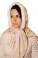 Женская косынка  из натуральной норки цвет-жемчуг