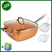 Сковородка-фритюрниця квадратная с крышкой TOP KITCHEN BN-8001, универсальная сковорода антипригарное покрытие
