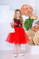 Дитяча сукня Періс (116-122) червоний+срібло