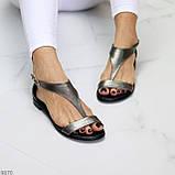 Босоніжки жіночі темне срібло/ нікель натуральна шкіра, фото 5