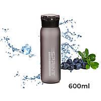 Пляшка для води CASNO 600 мл KXN-1196 Сіра з соломинкою
