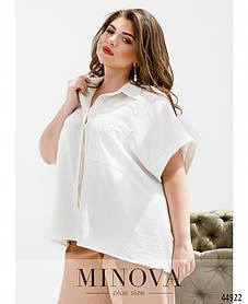 Элегантная рубашка с накладным карманом из жатки Размеры  48-50-52, 54-56-58