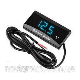 Світлодіодний цифровий вольтметр герметичний IP99, діапазон вимірювань від 8V до 18V, Blue