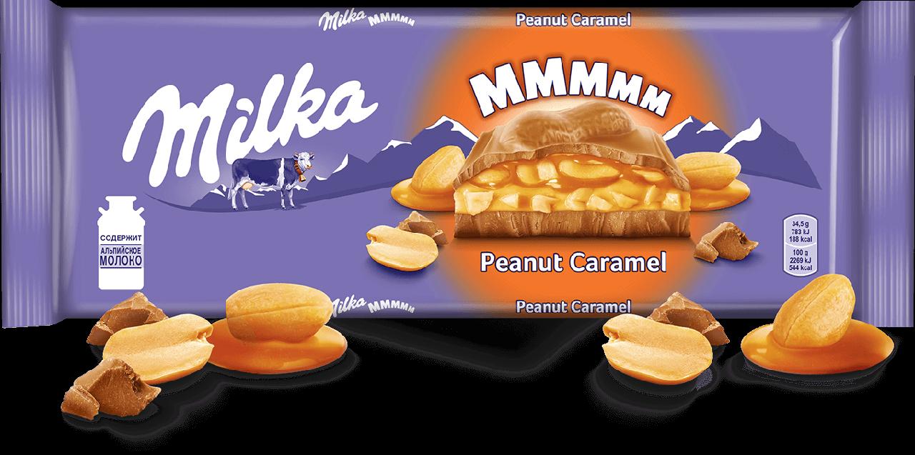 Велика Мілка з карамеллю і арахісом молочний шоколад 276 грам