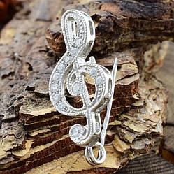 Серебряная булавка Маестро размер 28х12 мм вставка белые фианиты вес 2.6 г