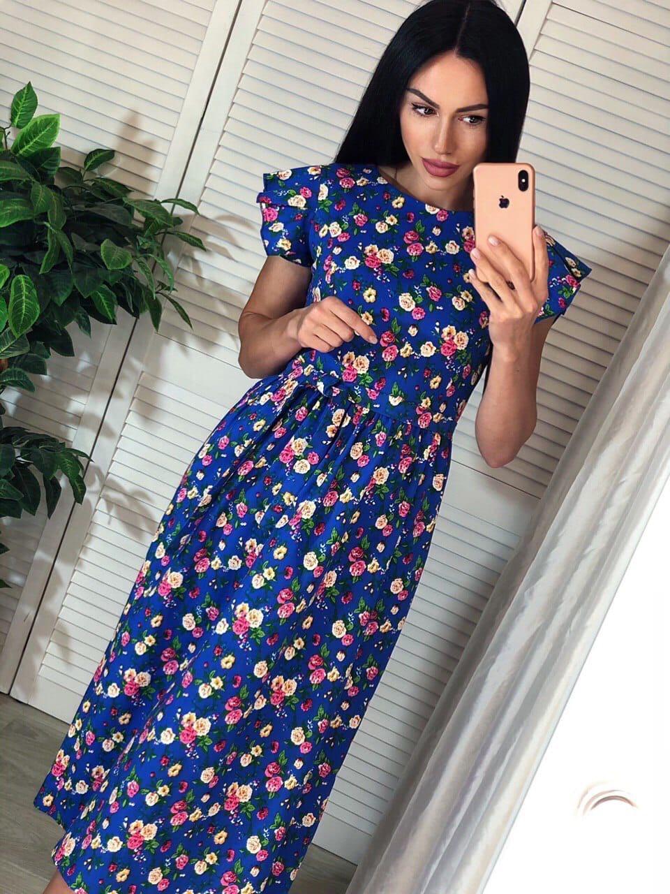 Женское платье летнее с коротким рукавом. Ткань коттон. Размер с и м.