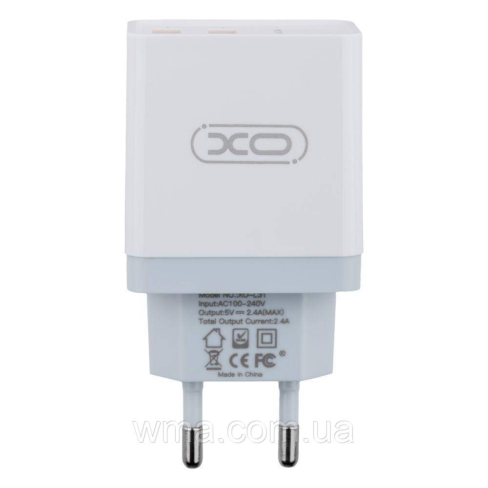 Сетевое Зарядное Устройство XO L31 Micro 2USB 2.4A Цвет Белый