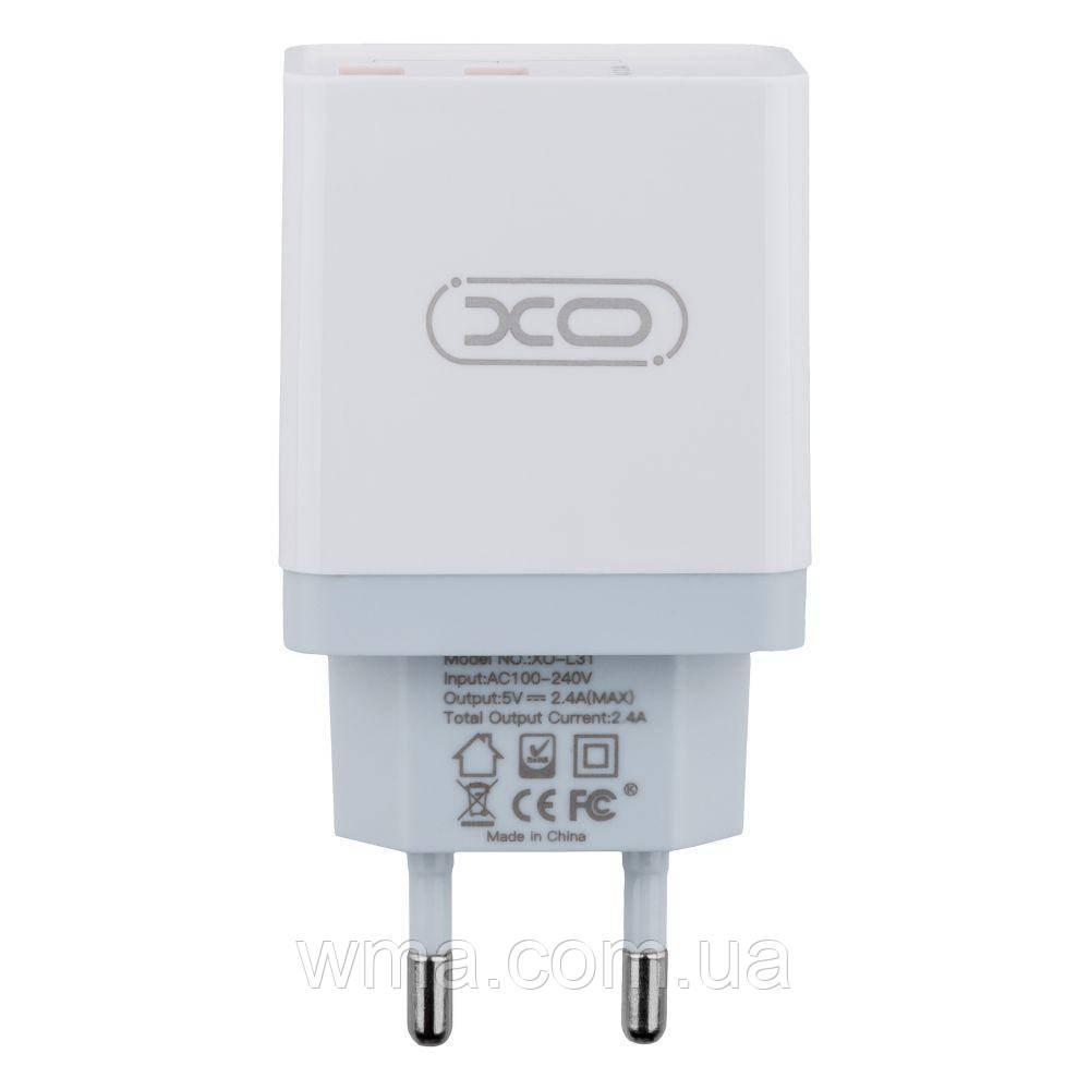 Сетевое Зарядное Устройство XO L31 Type-C 2USB 2.4A Цвет Белый